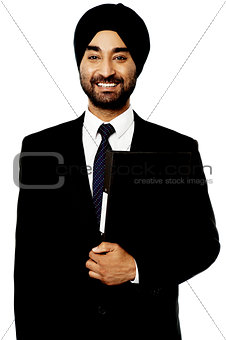 Corporate Indian guy over white