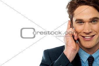 Businessman attending an important call