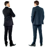 Back pose of handsome young corporates