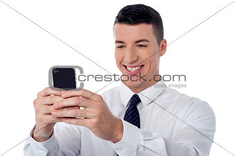 Corporate guy using mobile phone