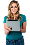 Female model using tablet pc