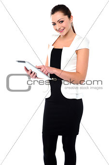 Corporate lady using tablet pc device