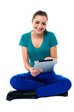 Young lady using tablet pc