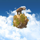 3D elephant on a grass and rock globe