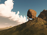 3D render of a man pushing a rock up a mountain
