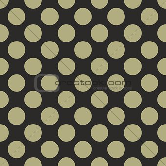 Tile vector pattern with big green polka dots on black background