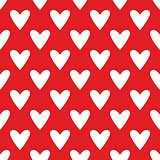 Tile cute vector pattern with white hearts on red background