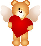 Angel teddy bear holding a heart