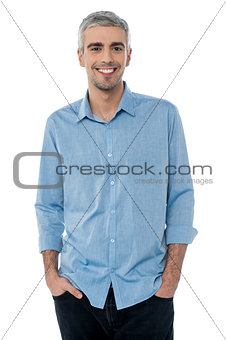 Casual shot of smiling mature businessman