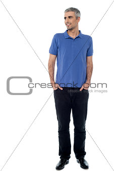Casual shot of smiling relaxed male model
