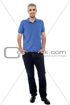 Casual shot of relaxed male model