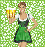 Vector Woman In Drindl On Saint Patricks Day