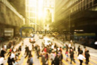 Streets of Hong Kong City. Crosswalk.