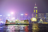 Pleasure boat on the night of Hong Kong.