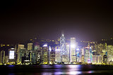 View the city at night from Kowloon. Hong Kong.