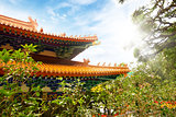 Chinese Buddhist monastery in the mountains.