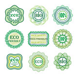 Set of labels for green technology and production.