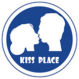Special place for a kiss vector sign