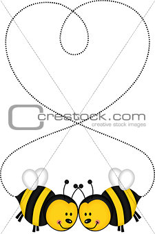 Bee couple forming a heart
