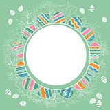 Delicate frame with easter eggs