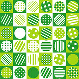 Green geometrical background with squared and patterned circles