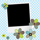 Scrapbook baby boy design with photo frame and patcwork flowers