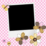 Scarpbook baby girl design with photo frame and patchwork flower