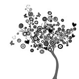 Stylized black tree with circles and butterflies
