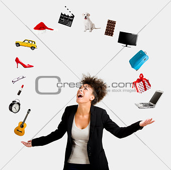 Afro-American woman juggling objects
