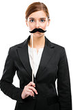 Beautiful woman with a moustache