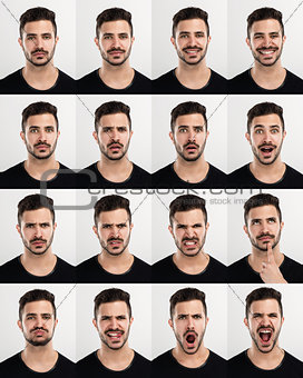Man in different moods