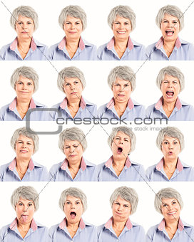 Elderly woman in differents moods