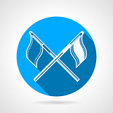 Crossed sport flags round vector icon