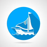 Sea yacht round vector icon