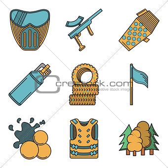 Flat colored vector icons for paintball
