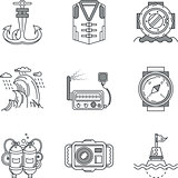 Snorkeling black line vector icons