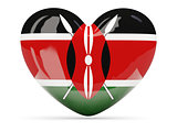 Heart shaped icon with flag of kenya