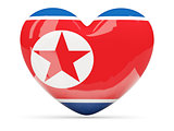 Heart shaped icon with flag of north korea