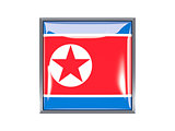Square icon with flag of north korea