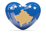 Heart shaped icon with flag of kosovo
