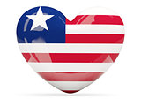 Heart shaped icon with flag of liberia