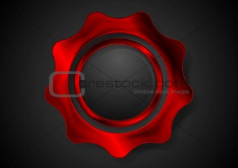 Bright red metal gear logo