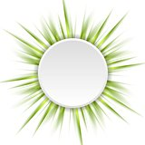 Green beams and white circle abstract background