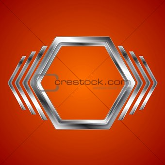 Abstract metal hexagon and arrows shape