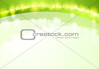 Green shiny waves abstract vector background