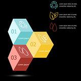 Design 3D box infographic on black background