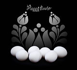 Easter greeting card design in black and white