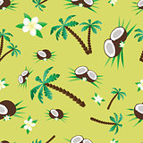Pattern with coconut and palms
