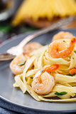 Tagliatelle with shrimps and parsley