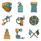 Flat color design vector icons for paintball